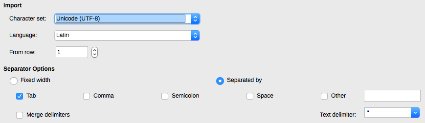 Libre file import window. Select TAB as the field separator.